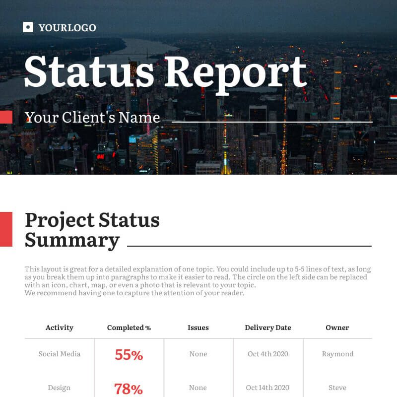 project status report template, how to make the most out of visual arrangement