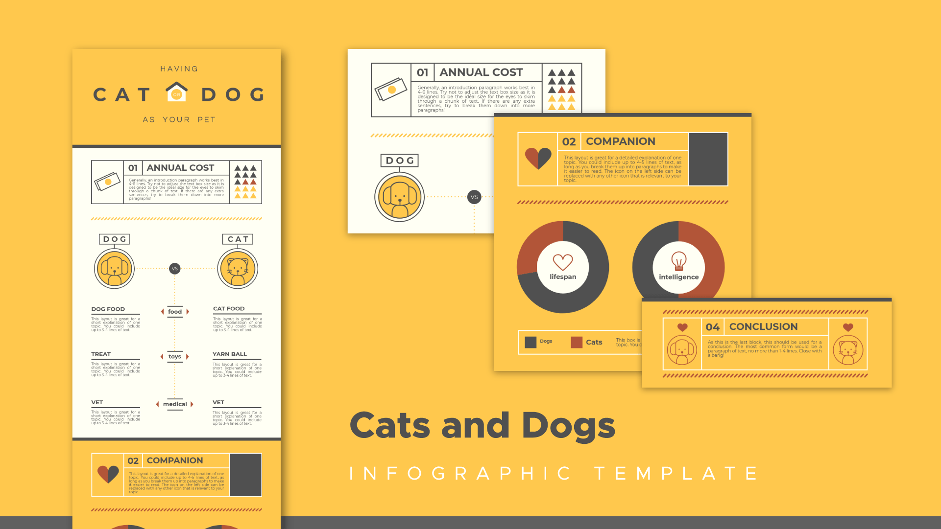 cat or dog, comparison infographic template