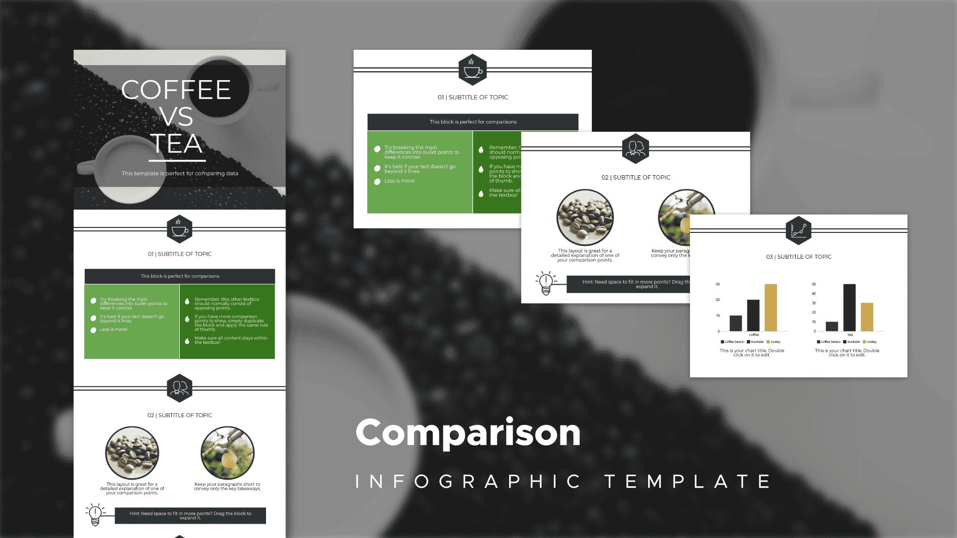 coffee vs tea, comparative infographic