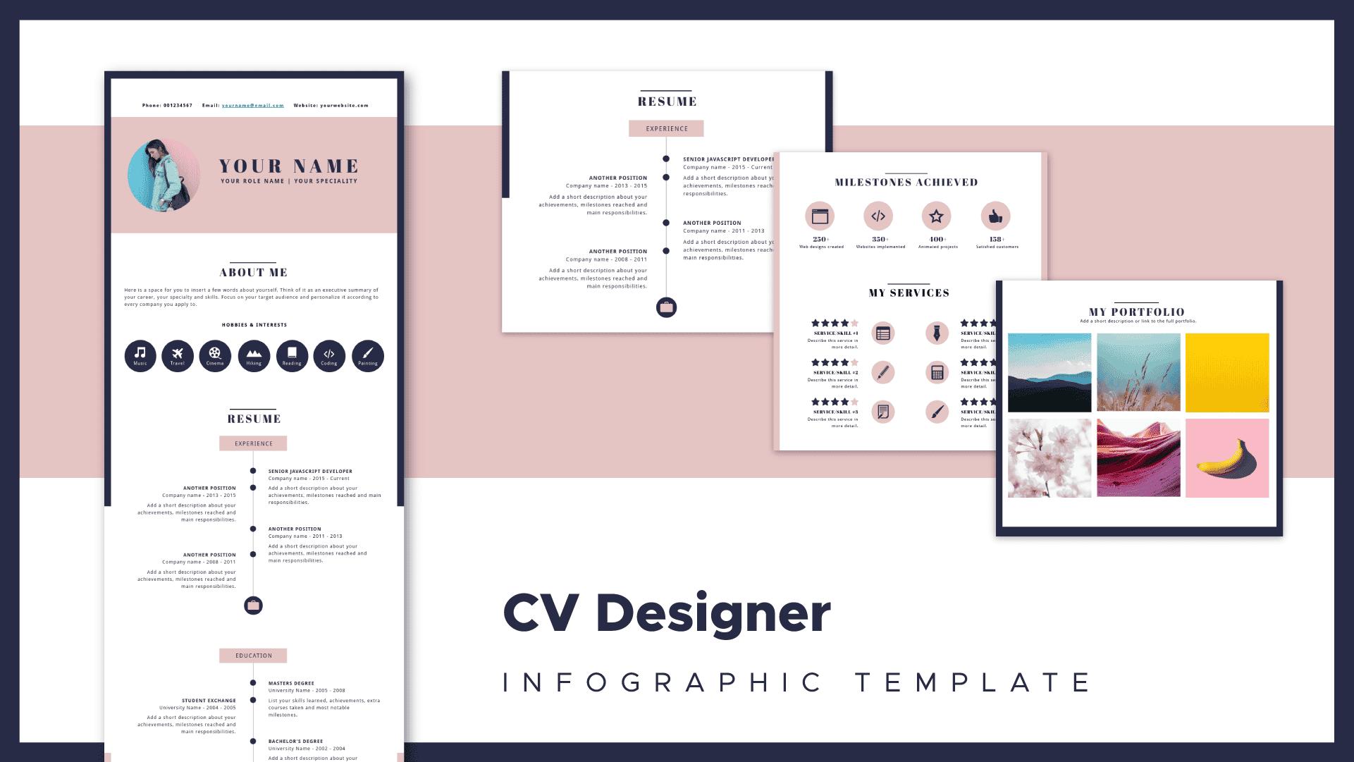 designer resume template, designer resume piktochart