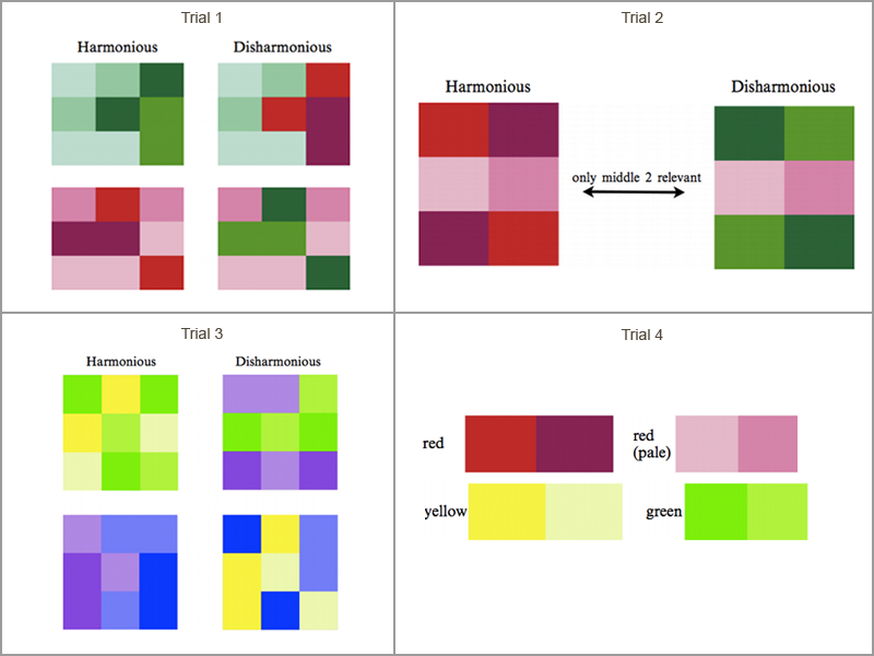 color patterns examples, visual memory experiment