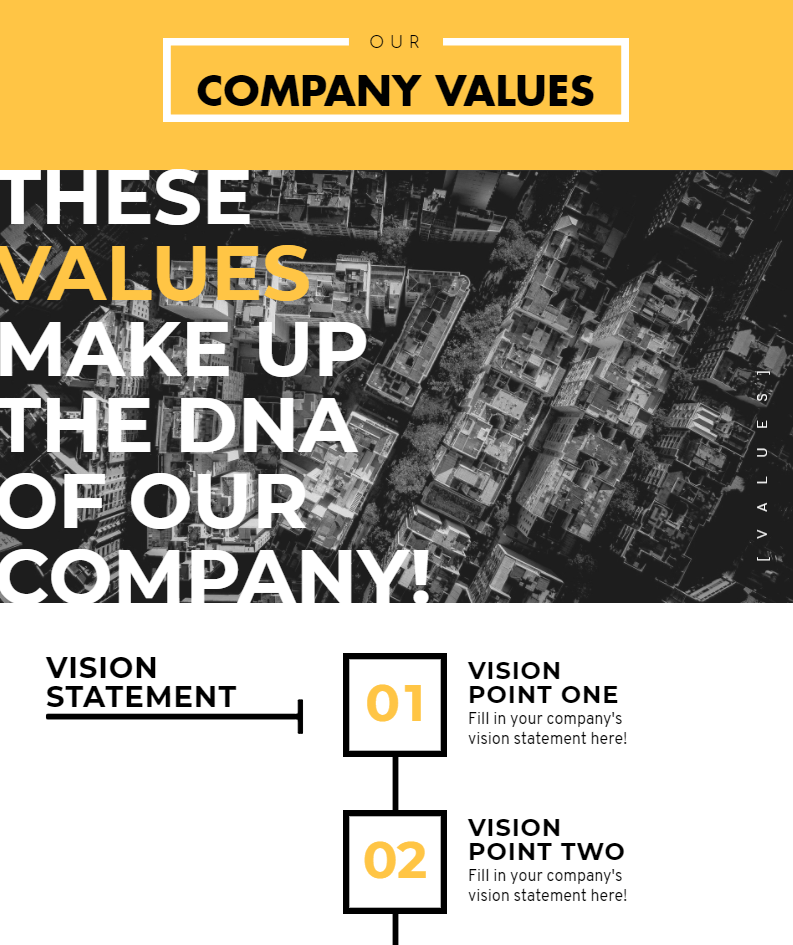company values infographic, vision statement infographic