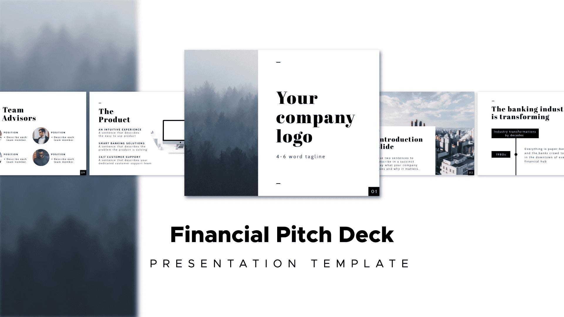 financial pitch deck, presentation template, Piktochart