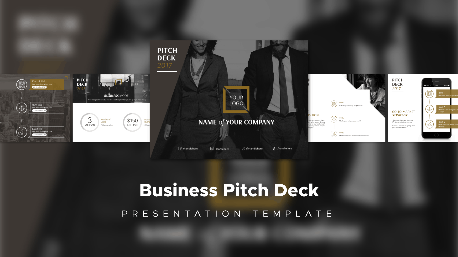 business pitch deck, pitch deck template, presentation template