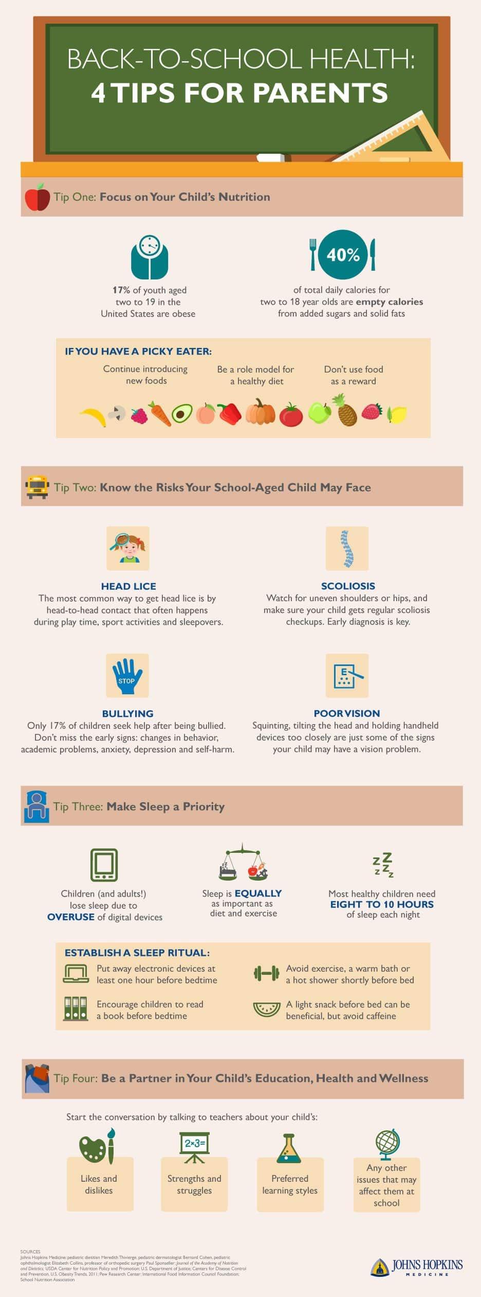 regreso a clases, consejos de salud para padres