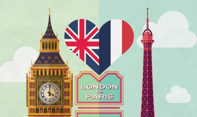 comparison, london vs paris infographic