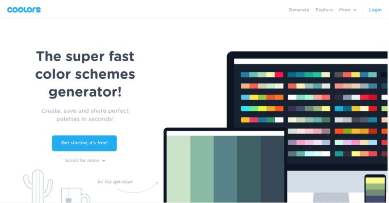 coolors, generador de esquemas de color para diseno gráfico