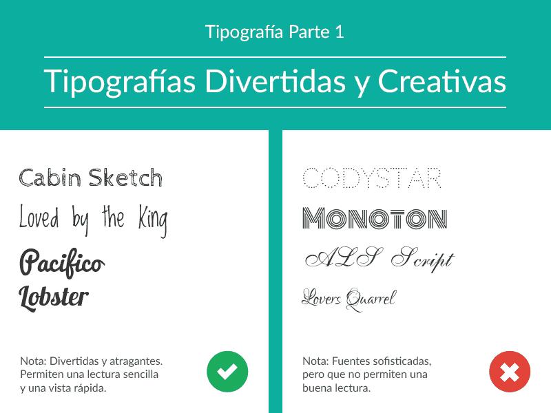 tipografía divertida, tipografía creativa, tipos de letra