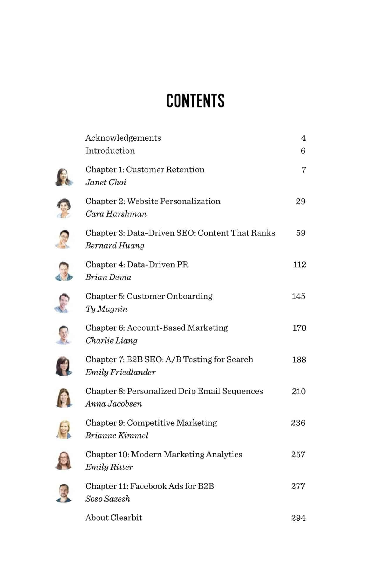 contents page of data driven marketing ebook, sample contents page