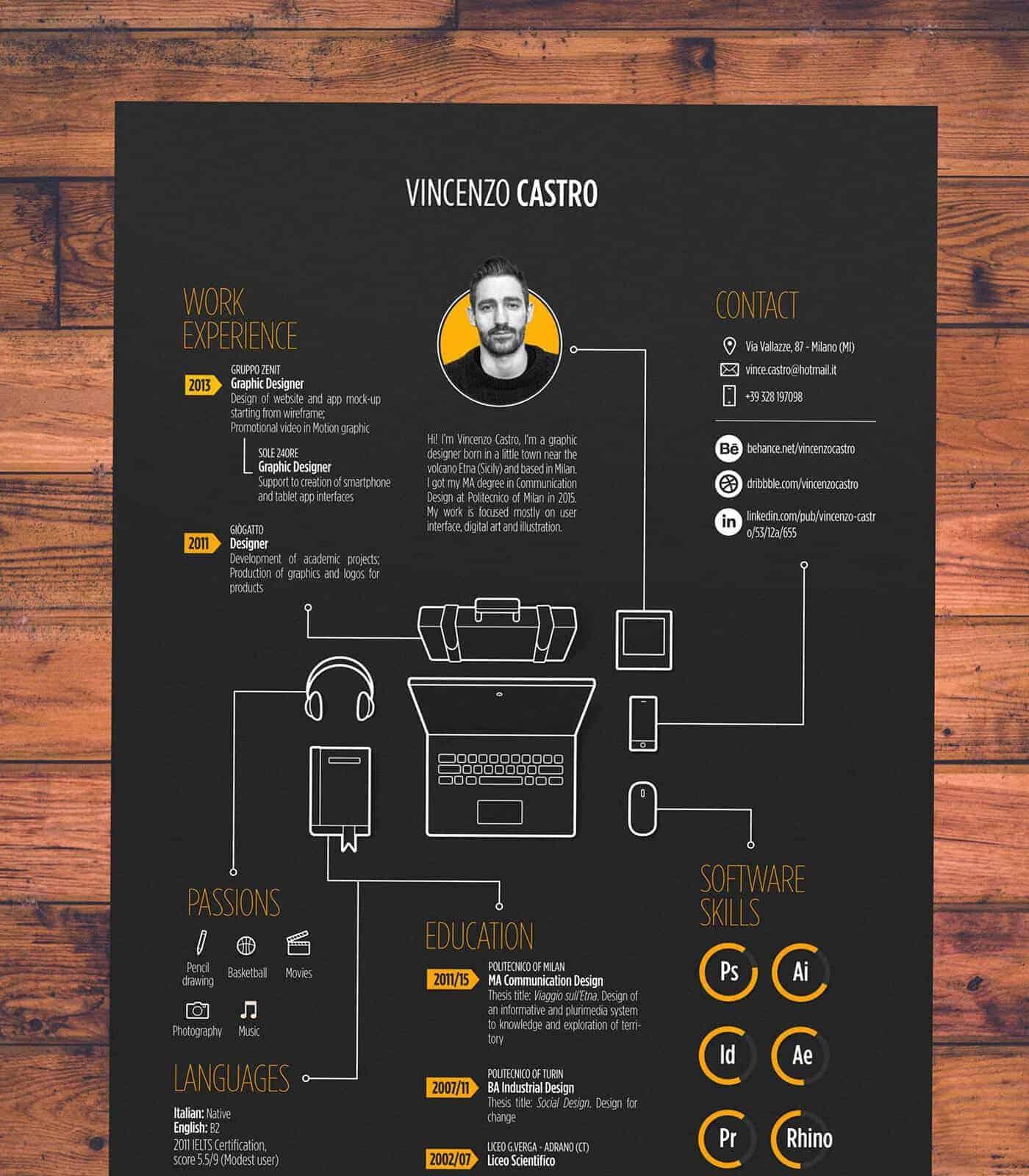 resume infographic example, descriptive resume template