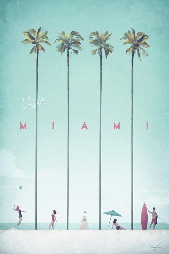 miami tourism poster, minimalist travel poster