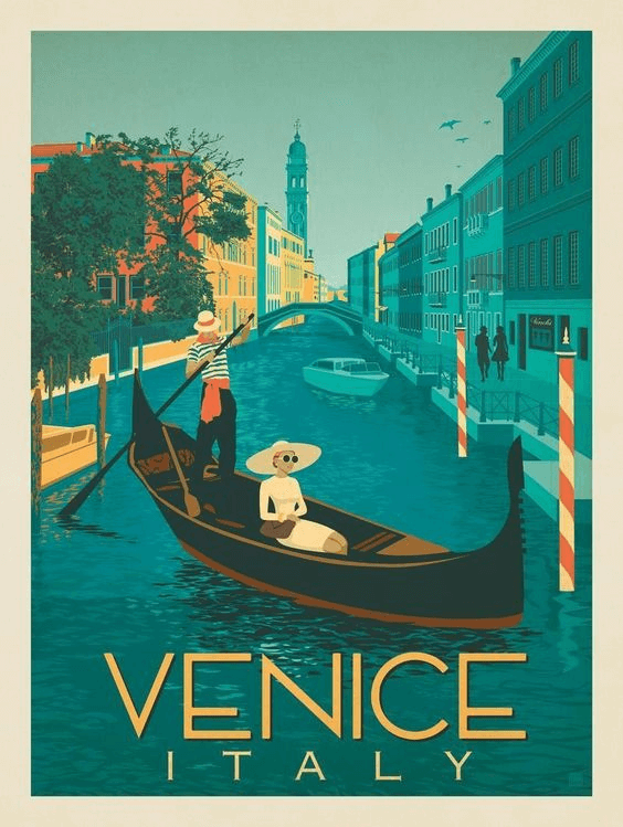 aesthetic travel posters, venice tourism poster