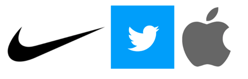 Logos of Nike, Twitter and Apple