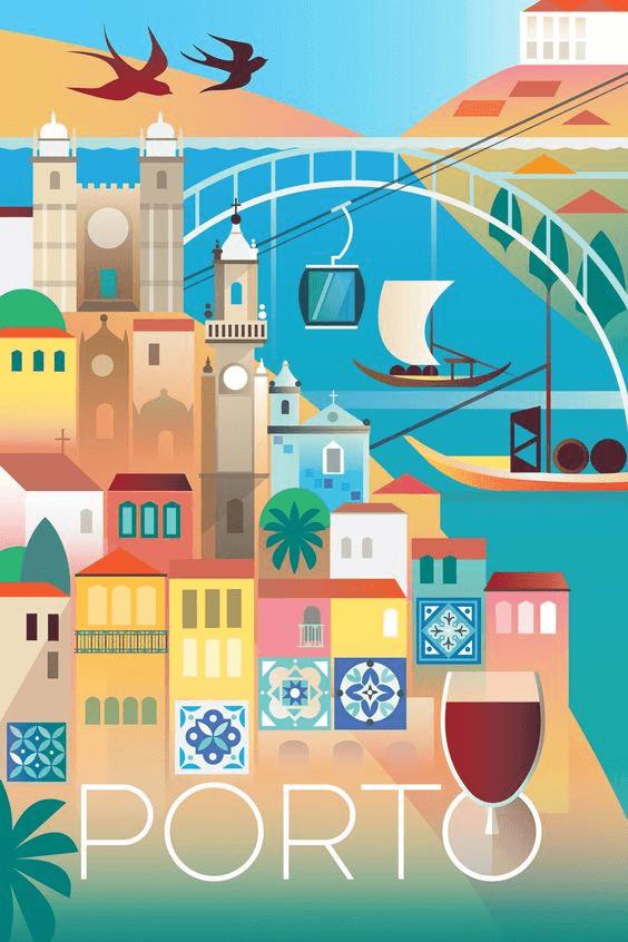 descriptive travel posters, porto tourism poster