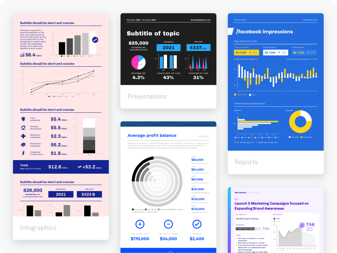 add charts to any format in piktochart