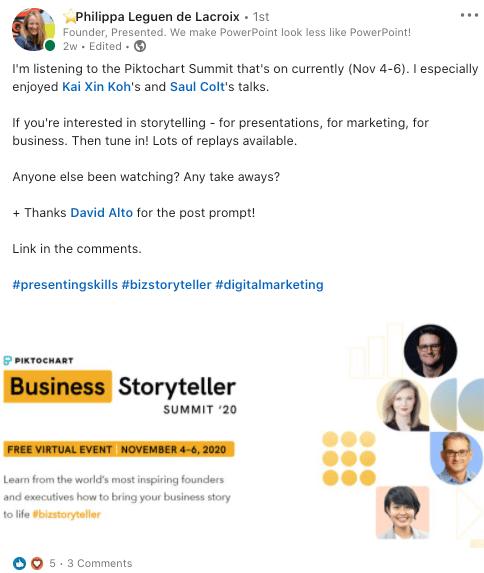 Business Storyteller Summit feedback on LinkedIn