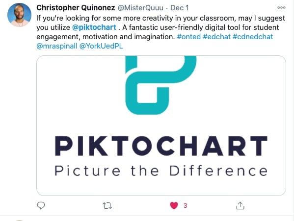 Piktochart in classroom user feedback on Twitter