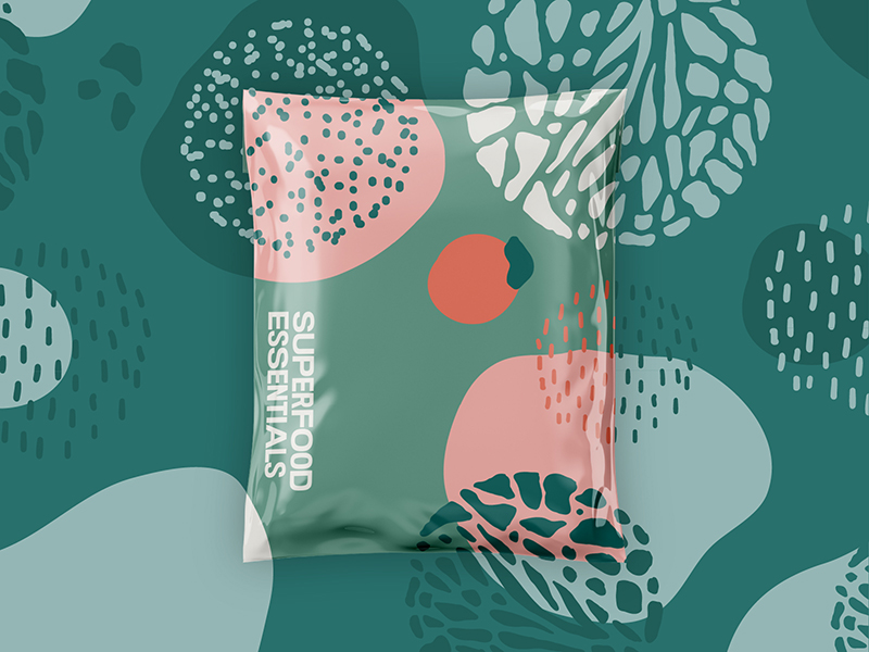 superfood essentials packaging design, trends in graphic design