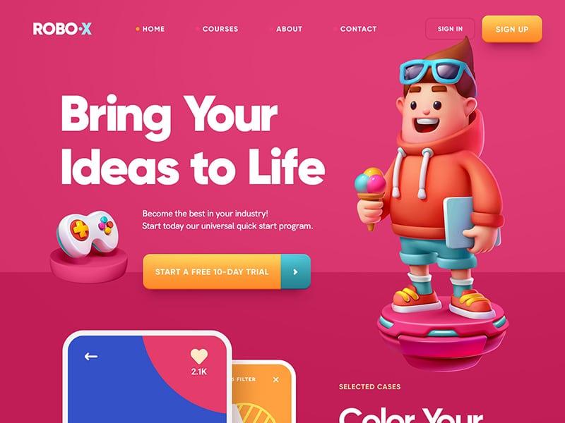 website 3d illustration example, robo x