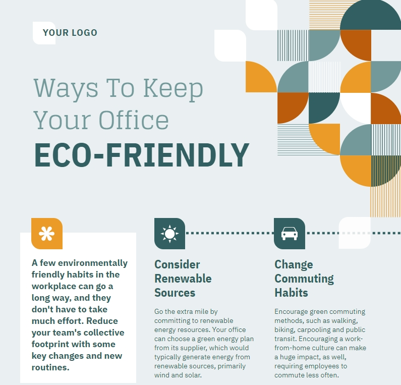 ways to keep office eco-friendly, hr infographic template, internal communication graphic