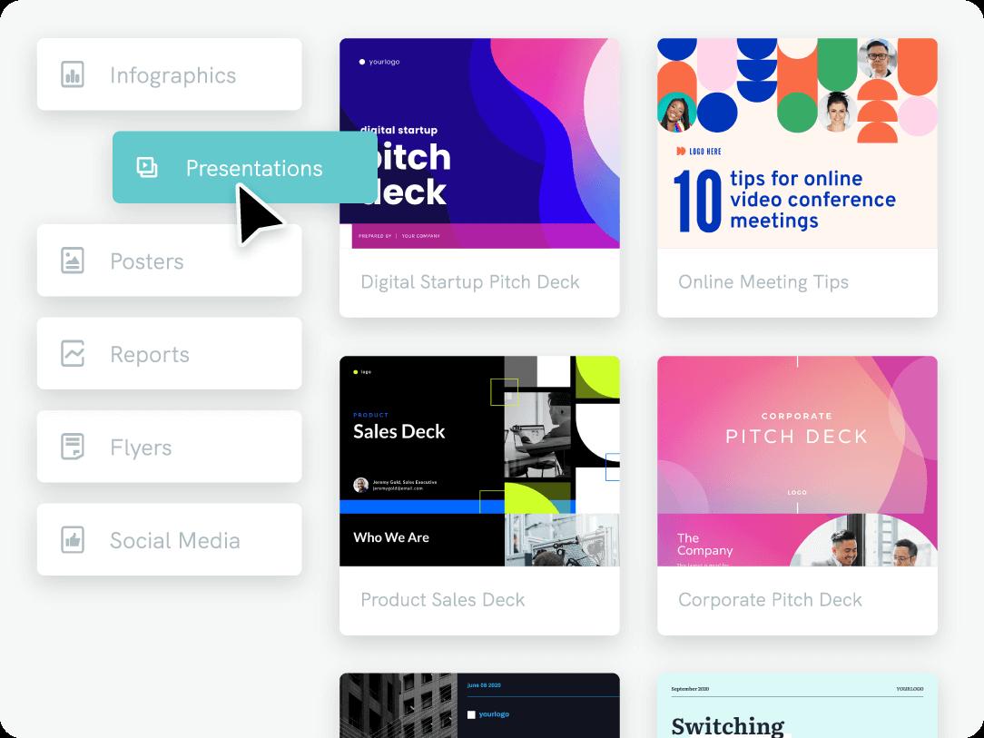 create a pitch deck, design tool
