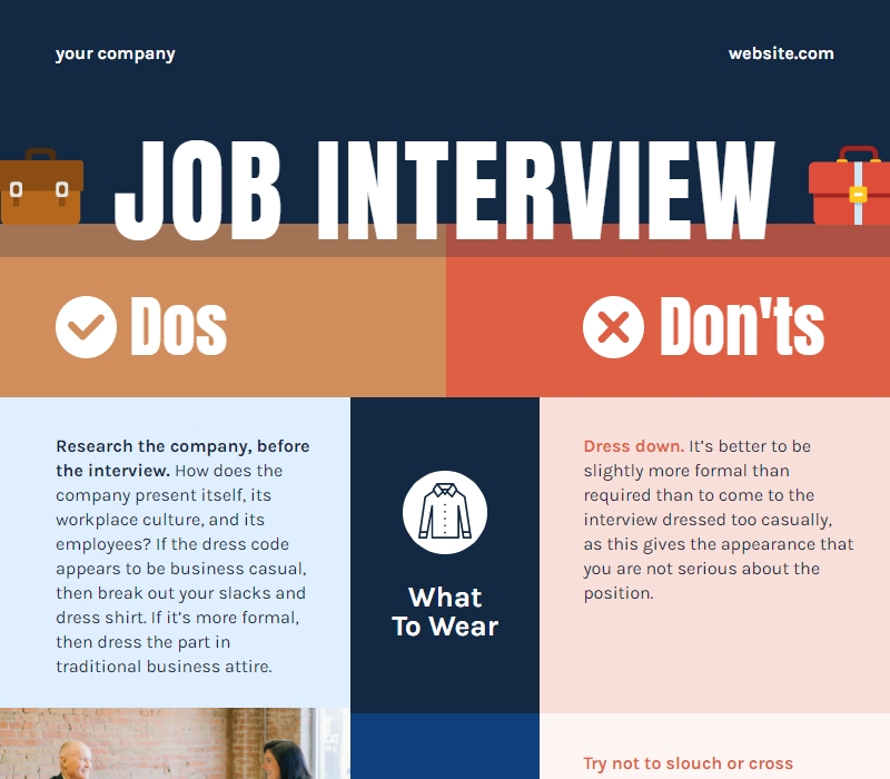 job interview dos and don'ts comparison chart template