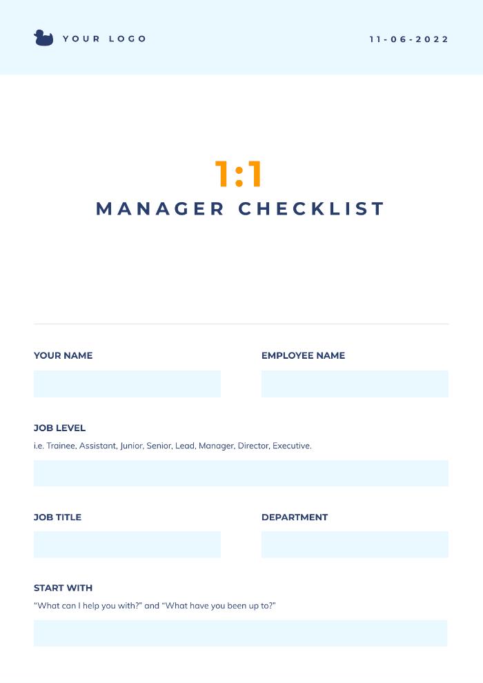 1-1 manager checklist
