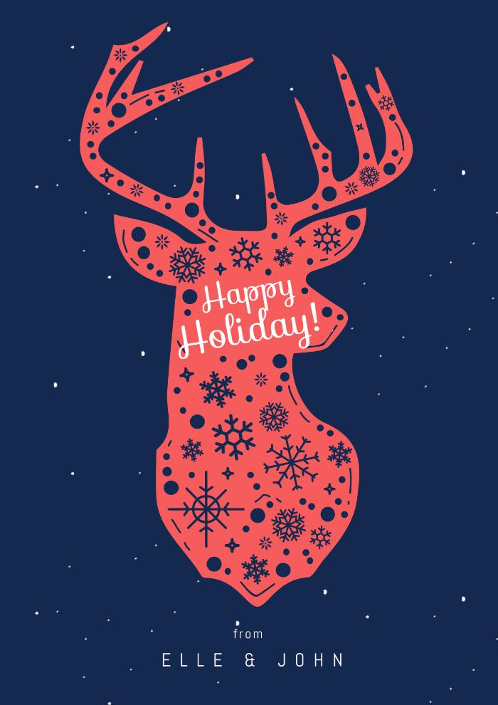 Holiday Card, Illustration, Deer