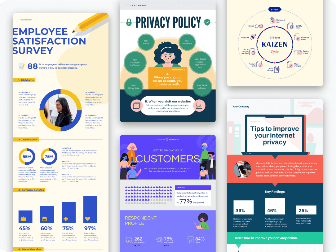 Collection of Piktochart infographics