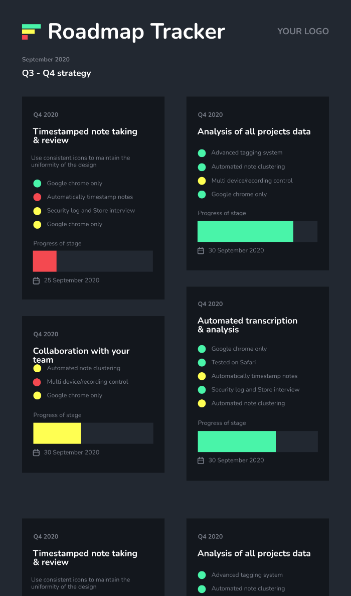 Roadmap Tracker Infographic Template