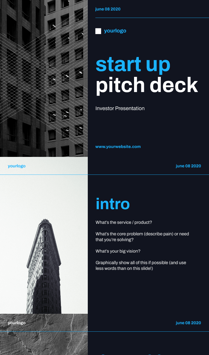 Start Up Pitch Deck, template preview