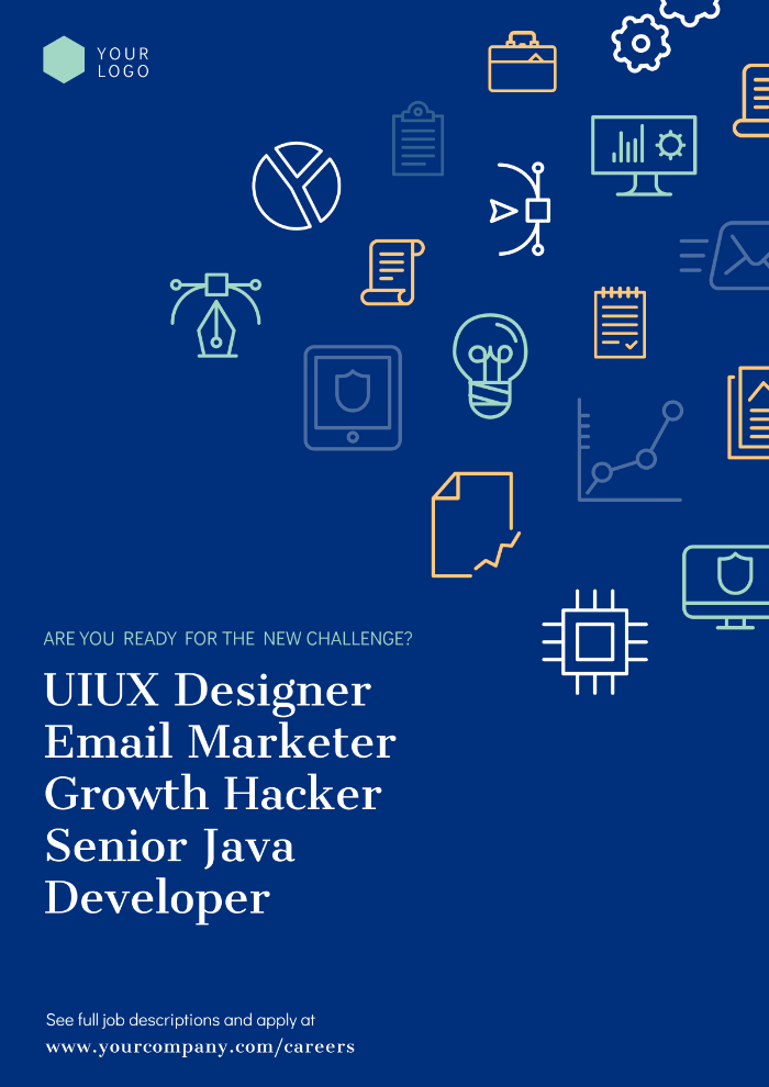 Hiring poster, ux designers, marketers