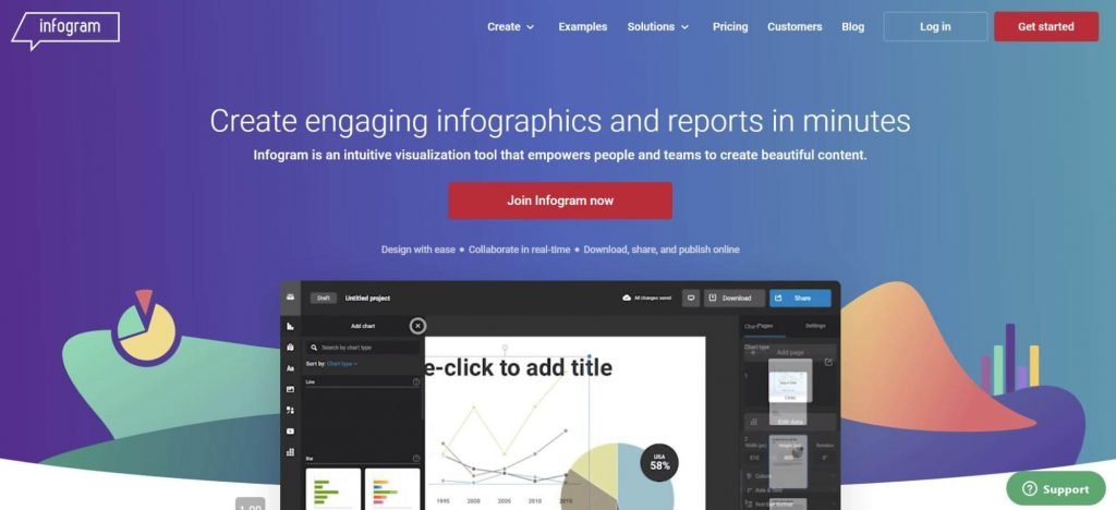 Infogram infographic software front page