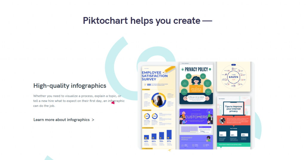 Piktochart infographic maker front page