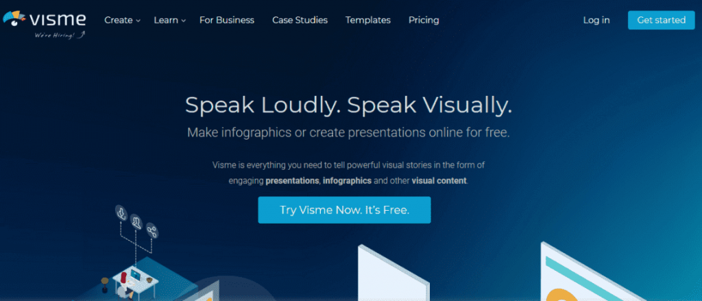 Visme infographic tool front page